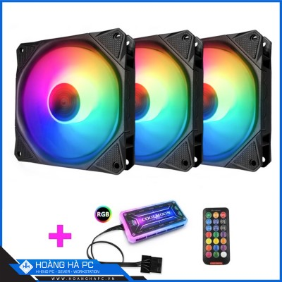 FAN CASE COOLMOON AURA RGB (pack 3 fan) coolman
