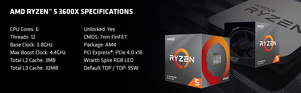 CPU AMD Ryzen 5 3600X (3.8GHz turbo up to 4.4GHz, 6 nhân 12 luồng, 32MB Cache, Socket AM4)