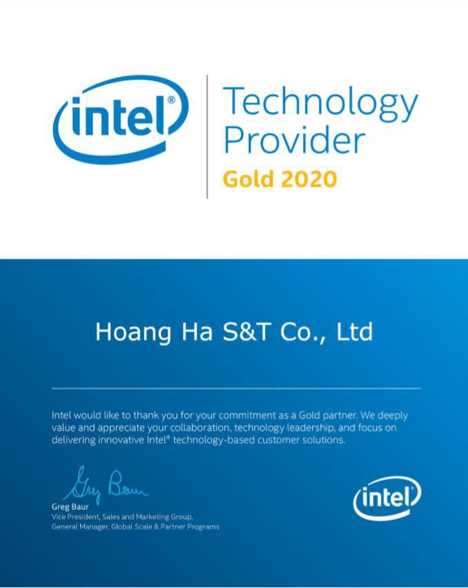 Giấy chứng nhận Hoàng Hà PC bán CPU chính hãng của Intel