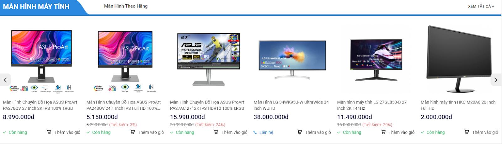 Hoàng Hà PC có đa dạng các loại màn hình máy tính với nhiều tầm giá
