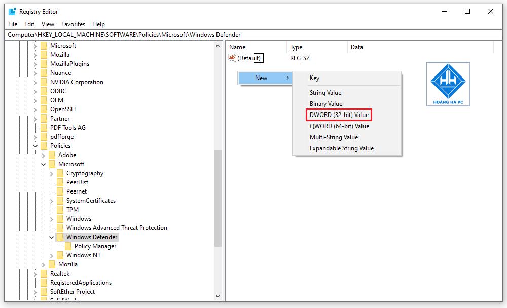 Tắt Window Defender trong win 10 bằng Registry Editor