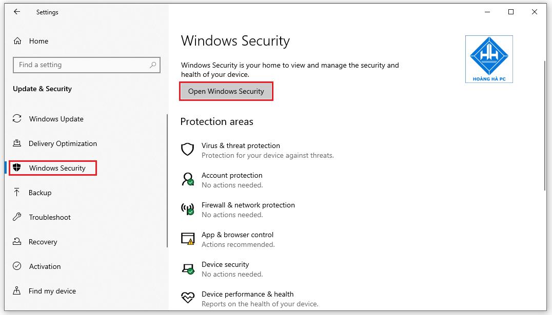 Vô hiệu hóa tạm thời Windows Defender bằng ứng dụng Setting